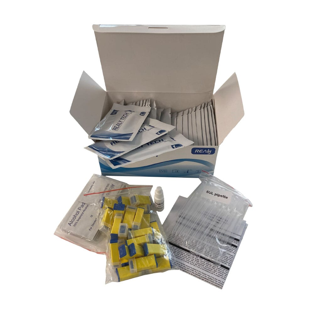 picture of a box of COVID-19 IgM/IgG Rapid Antibody Tests
