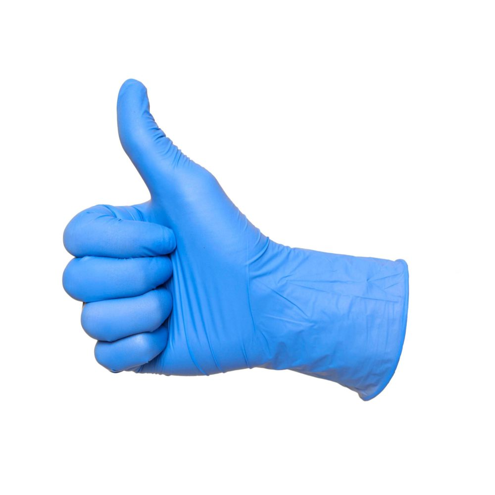 nitrile gloves giving thumbs up