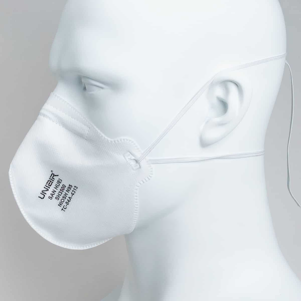 side view of an sh3500 n95 mask on mannequin