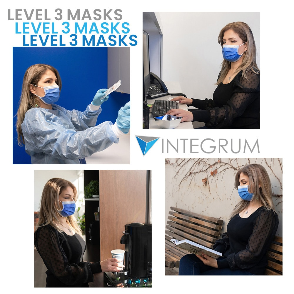 integrum medical masks shown used by woman in 4 locations