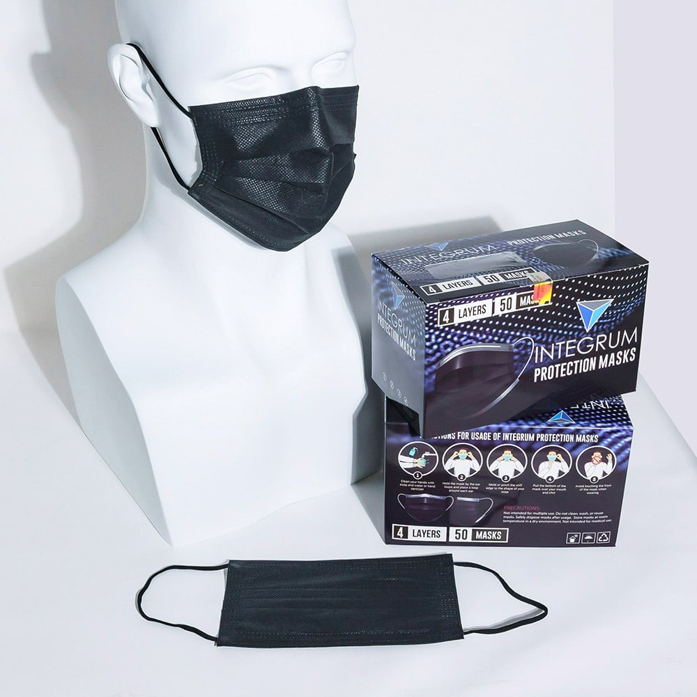 integrum protection mask in black with mannequin