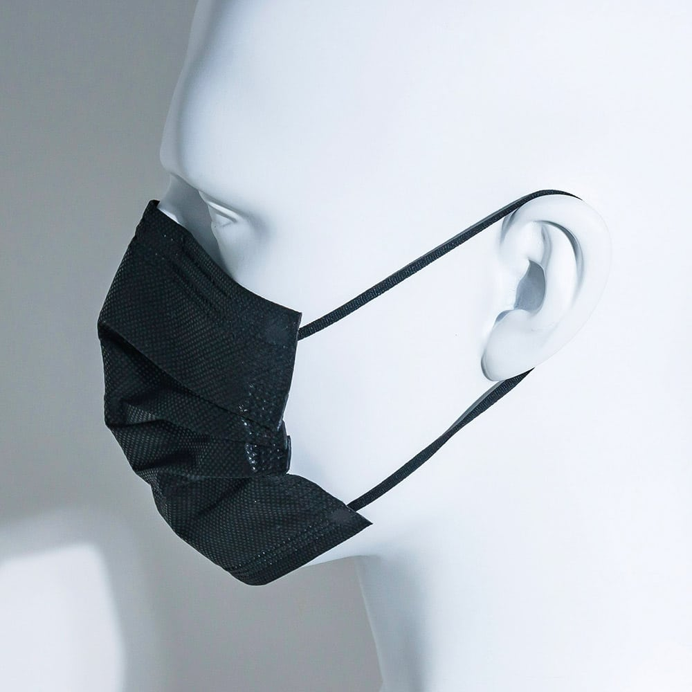 side view of mannequin wearing black mask