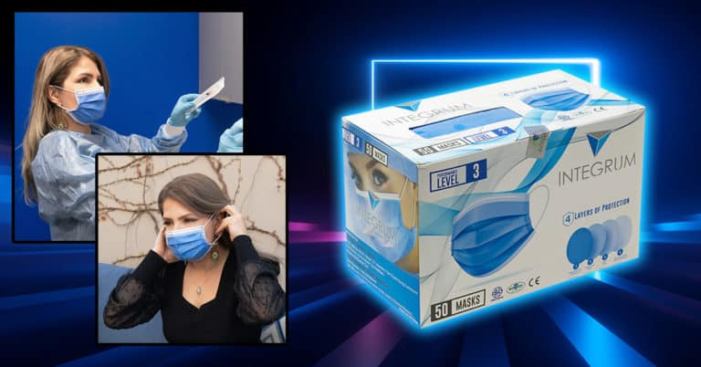 integrum level 3 mask box and worn by woman