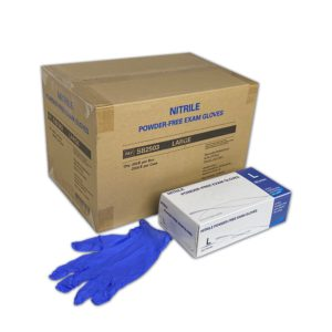 box of medline next to a case and one blue glove
