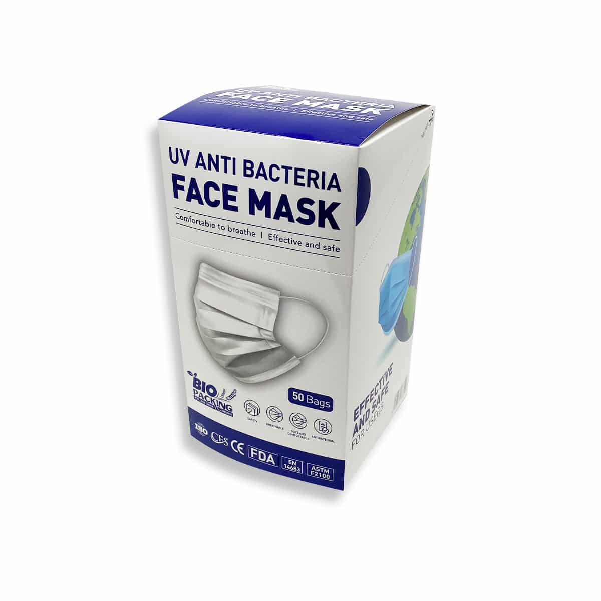 [Mask] Bright White Masks 4-Ply - Individually Wrapped -BioPacking 6