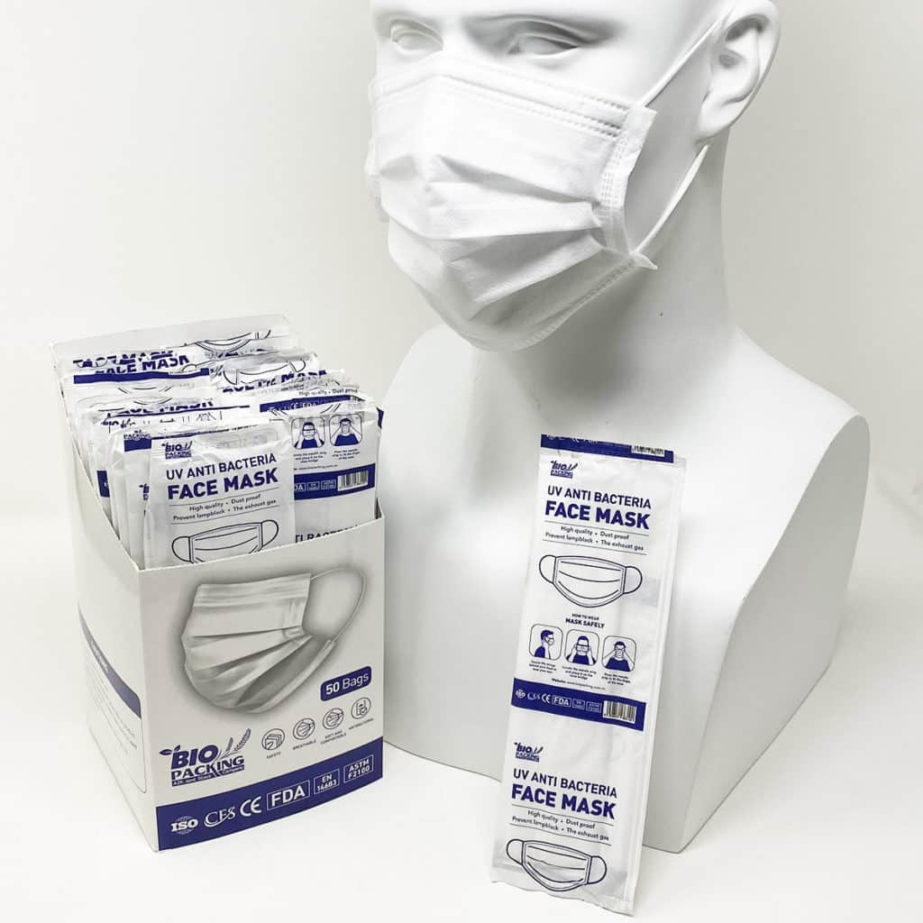 [Mask] Bright White Masks 4-Ply - Individually Wrapped -BioPacking 8