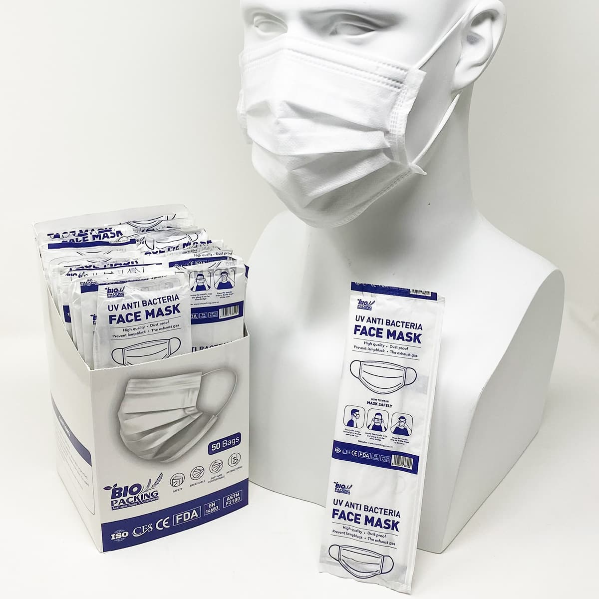 [Mask] Bright White Masks 4-Ply - Individually Wrapped -BioPacking 7